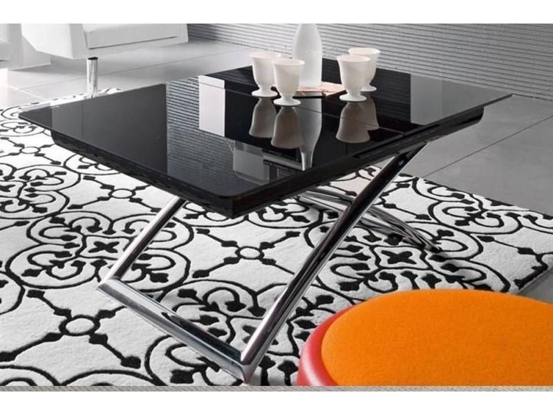Table basse relevable extensible italienne magic j glass en verre noir et piétement en acier chromé 20100838230