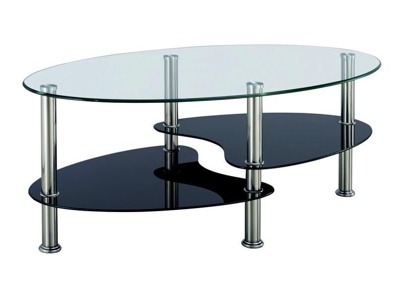 Table basse noir et blanc en verre trempé ovale opunake-