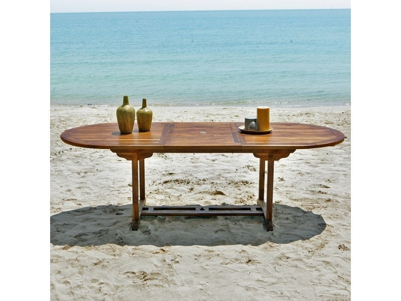 Table de jardin en bois de teck avec rallonge 8 à 10 places ...