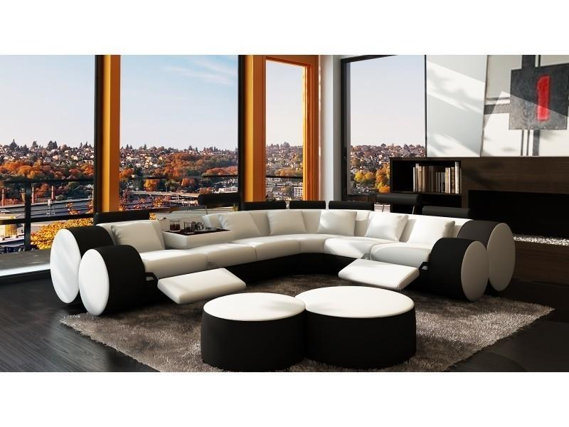 Canapé d'angle cuir blanc et noir + positions relax roma-