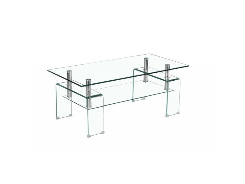 Table basse verre transparent - double plateau - glow - ice