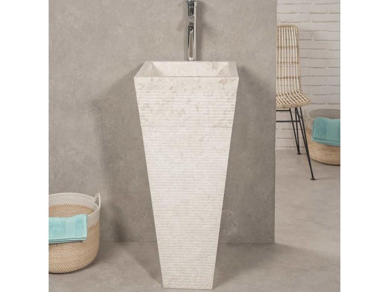 Vasque salle de bain sur pied en pierre pyramide guizeh crème 32022