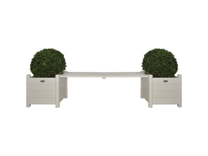 Bacs à fleurs avec banc intégré en pin