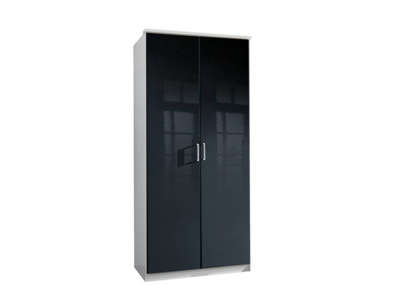 armoire penderie cooper noire avec 2 portes battantes. Black Bedroom Furniture Sets. Home Design Ideas