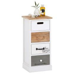 Chiffonnier salva commode 4 tiroirs en bois de paulownia style shabby chic vintage rustique blanc