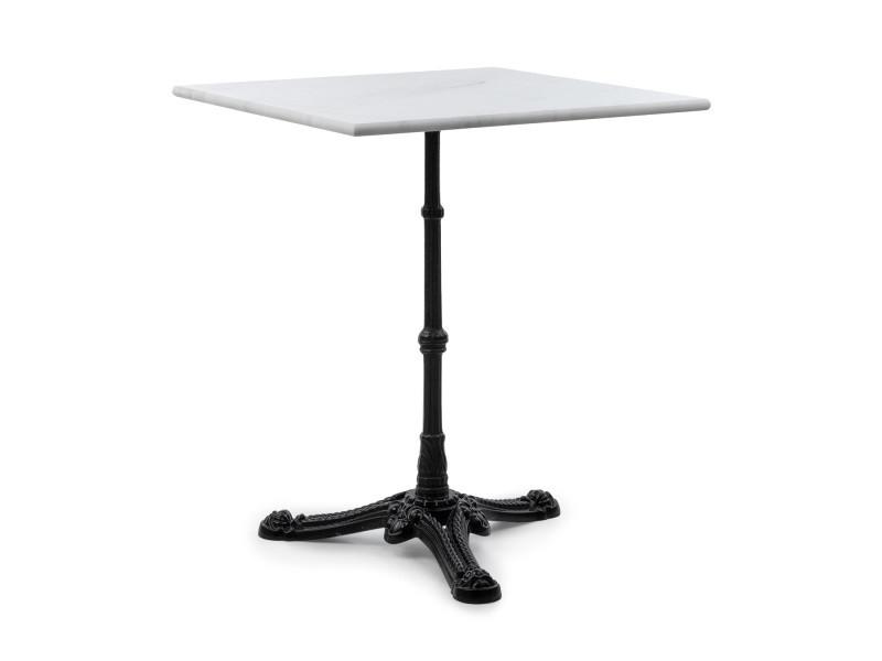 Table de bistrot - blumfeldt - style art nouveau - 60 x 72 x 60 cm - plateau carré marbre blanc - trépied