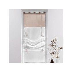 Un store droit à passant - rideau voile bicolore blanc / taupe 60 x 180 cm