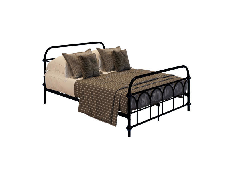 Lit en métal avec matelas 180x200 Noir Structure de lit existante design lit chambre