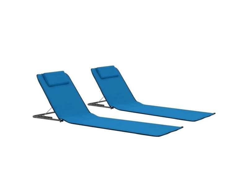 Admirable sièges de jardin reference funafuti tapis de plage pliables 2 pcs acier et tissu bleu