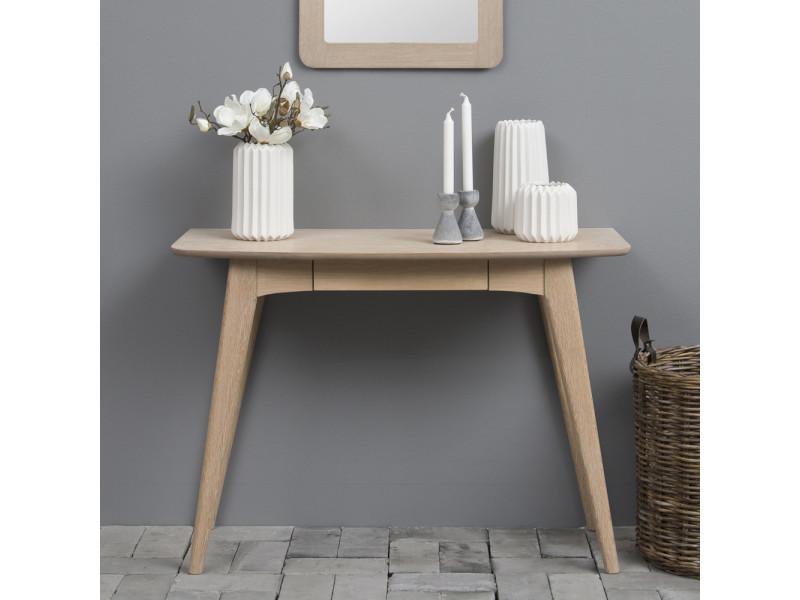Bureau design - pecara - 105 cm - chêne blanchi - avec tiroir