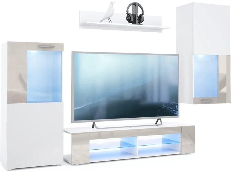 Ensemble de meubles de salon en blanc et sable leds bleus