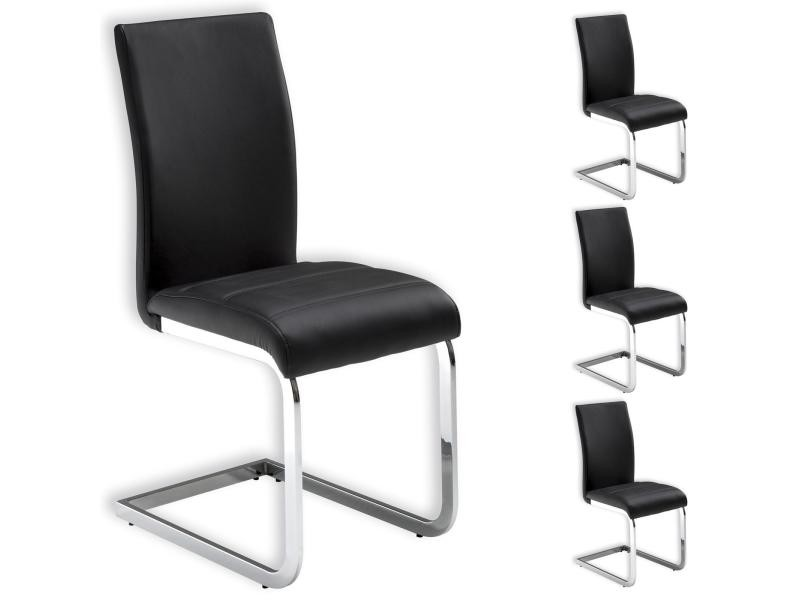 Lot de 4 chaises de salle manger leticia noir vente de for Chaise salle a manger conforama fr