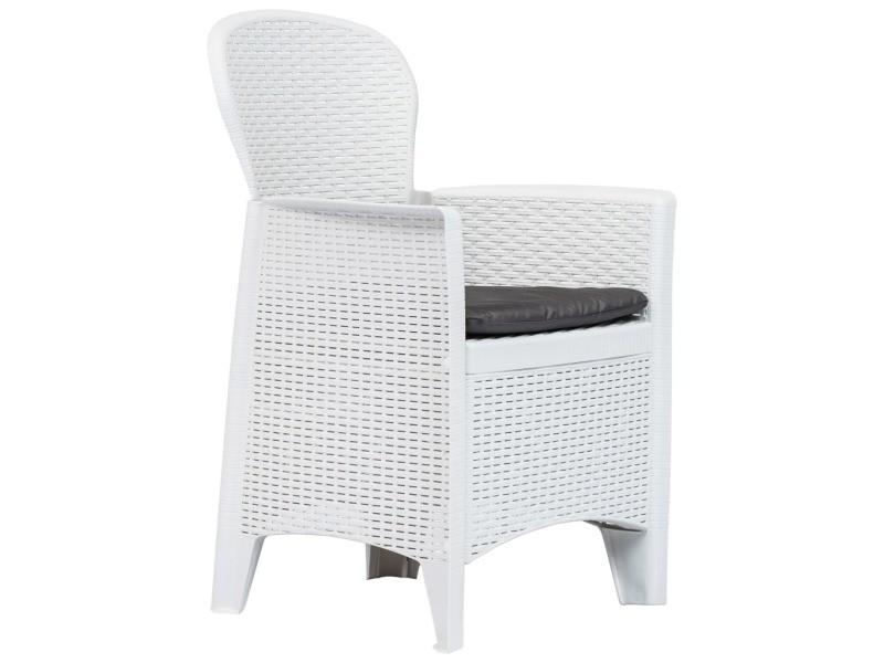 Vidaxl chaise de jardin 2 pcs et coussin blanc plastique aspect rotin 45598