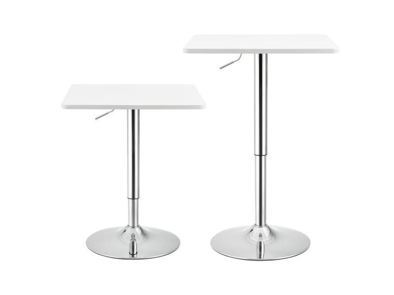 Table de bar carrée bistrot à hauteur réglable mdf chrome 60 x 60 cm blanc helloshop26 03_0006197