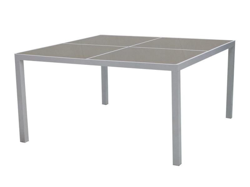 Table de jardin carrée en aluminium et plateau en verre 140x140cm ...