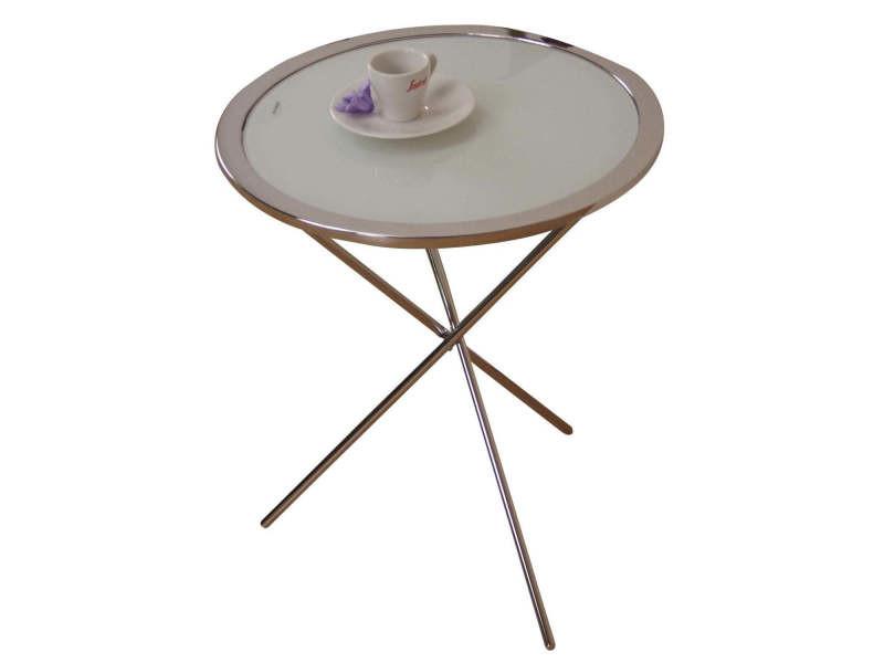 Table d'appoint en acier chromé plateau en verre blanc hauteur 51cm taba05104