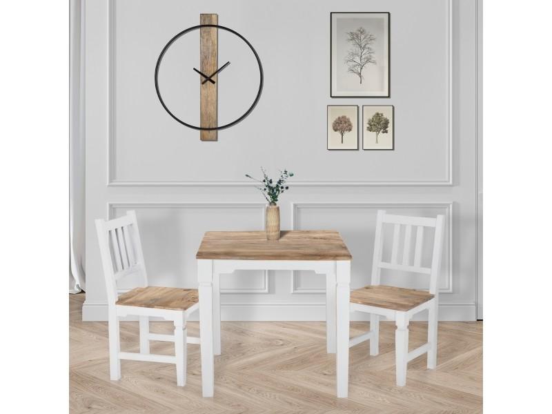 Table à manger tianjin - 80 x 80 x 76 cm - en bois massif de manguier laqué - naturel/blanc - carré - style campagnard - table de salon cuisine salle à manger - design vintage 390002576