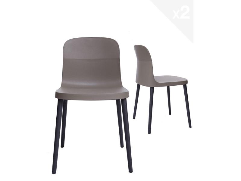 Lot de 2 chaises design intérieur / extérieur SANTI (gris) 278