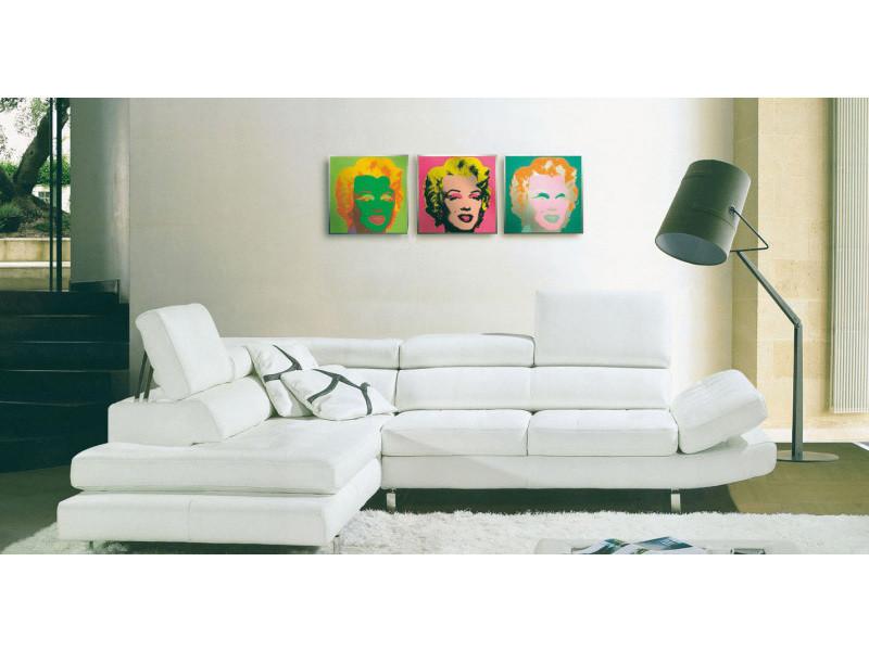 Canapé d'angle cuir blanc + tétières relax valdo-