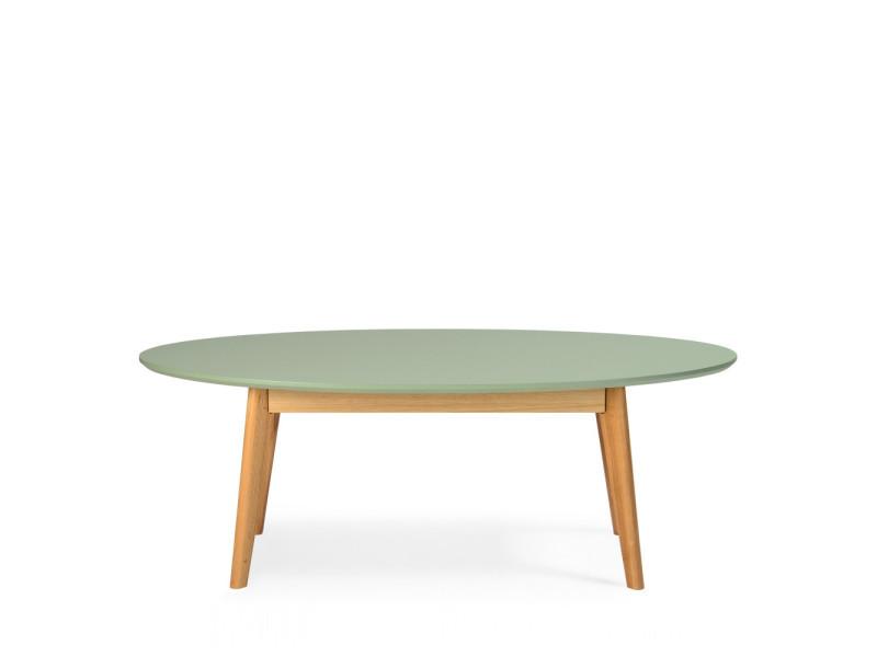 Skoll Table Basse Scandinave Ovale Couleur Vert Kaki