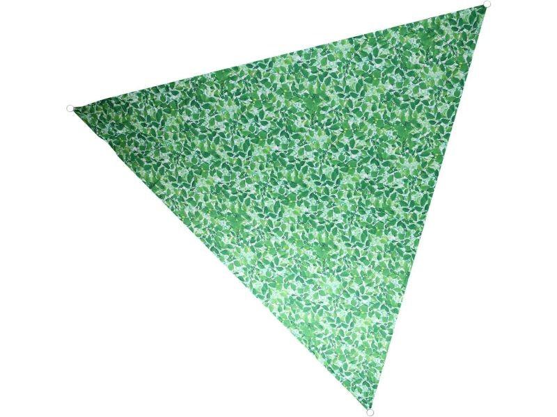 Voile d'ombrage triangulaire avec sac de rangement motif feuilles 428860