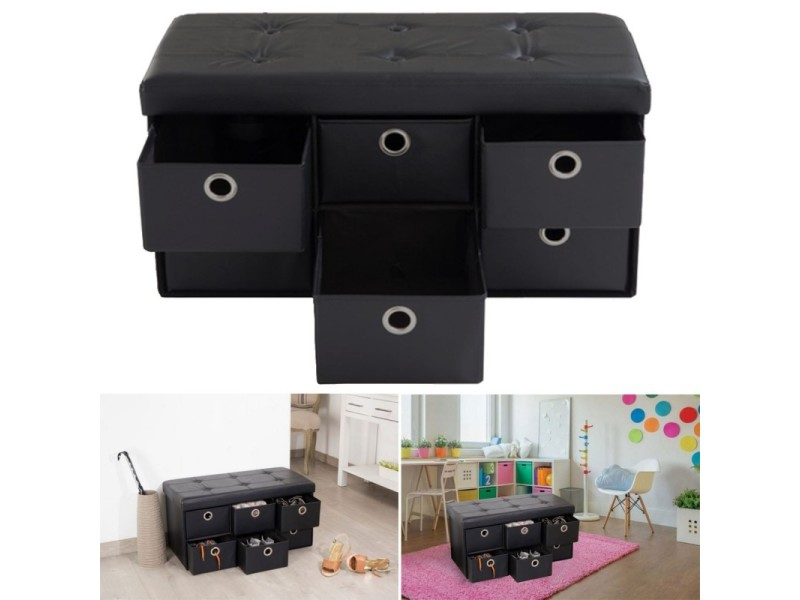 banc coffre rangement noir 6 tiroirs 76x38x38cm pvc vente de id market conforama. Black Bedroom Furniture Sets. Home Design Ideas