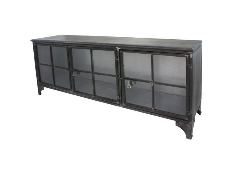 Enfilade bahut buffet meuble tele tv meuble industriel fer metal verre 10083