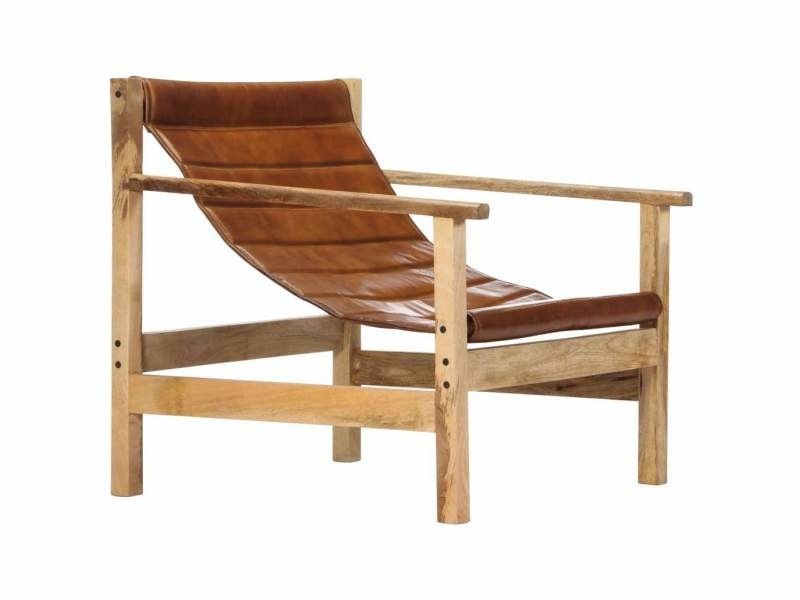 Fauteuil chaise siège lounge design club sofa salon de relaxation marron cuir véritable helloshop26 1102177/3