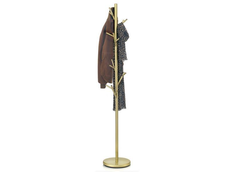 Porte-manteaux zeno portant à vêtements sur pied en forme d'arbre avec 6 crochets sur différentes hauteurs, en métal laqué doré