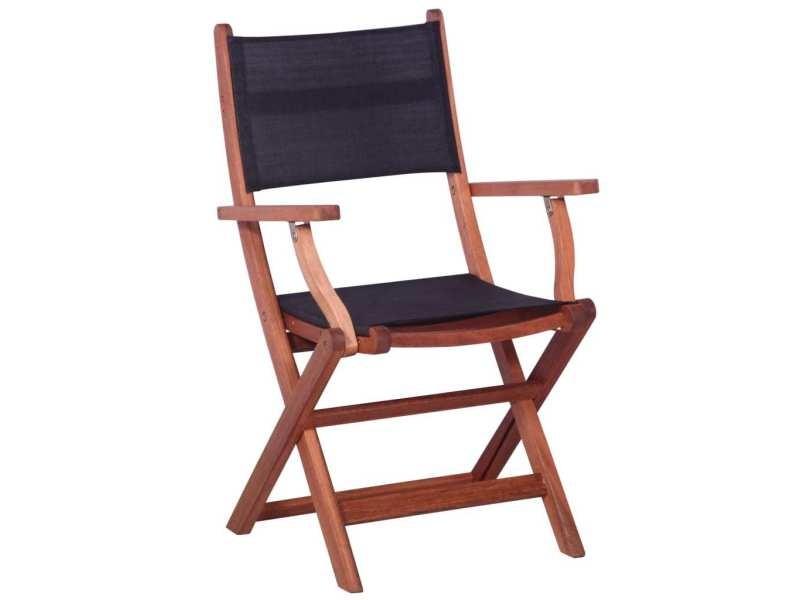 Vidaxl chaises d'extérieur 2 pcs noir bois d'eucalyptus et textilène 45589
