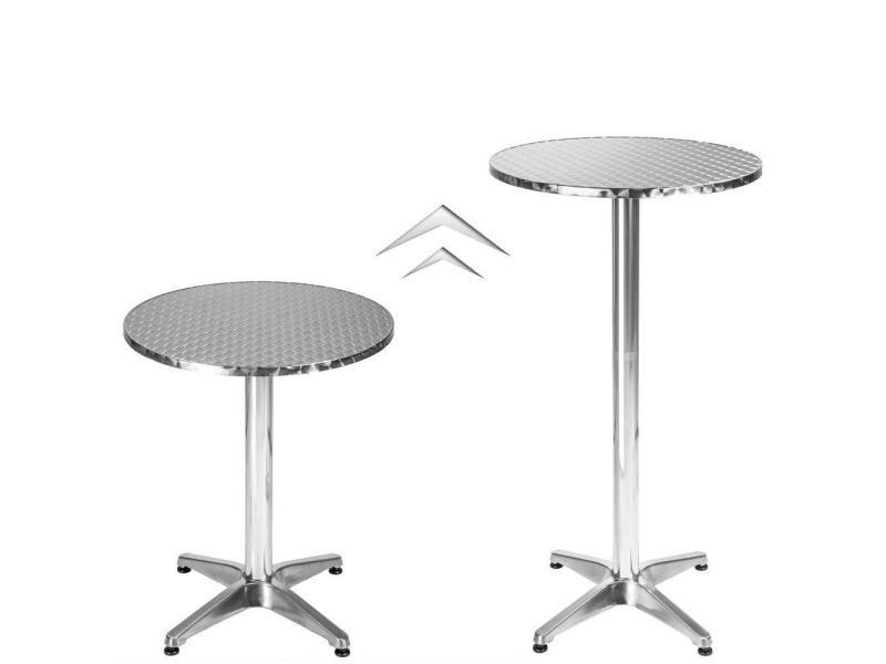 Mange debout aluminium diamètre table 60 cm diamètre pied 5,8 cm non-pliable hauteur réglable 70/110 cm gris helloshop26 2008192