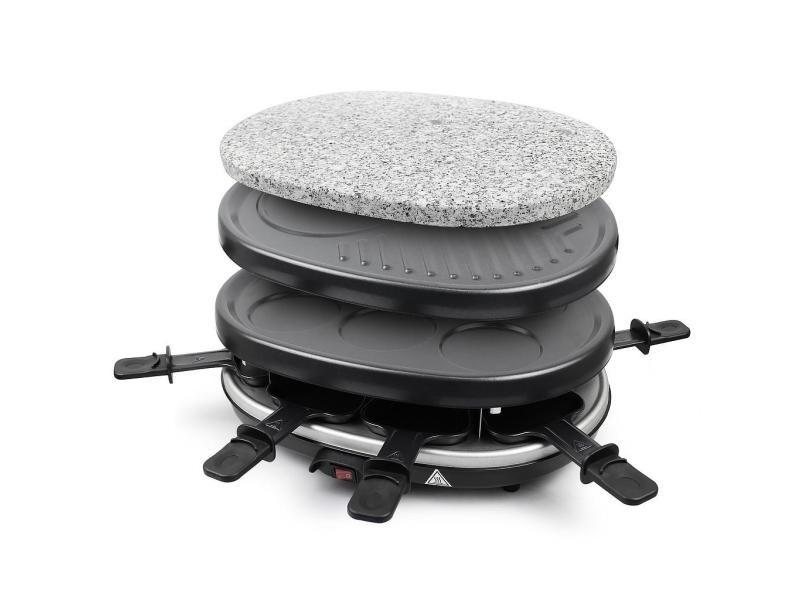 Set à raclette 3 en 1, grillade en pierre naturelle, noir, ensemble complet de plaques de cuisson, matériau: acier inoxydable 304 3700778715980