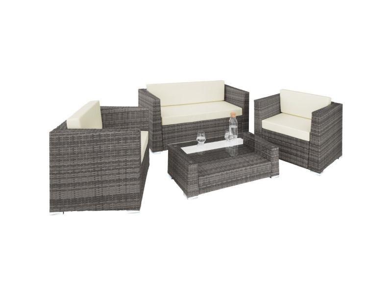 Salon de jardin rotin résine tressé synthétique 4 places avec 2 sets de housses gris helloshop26 2108117