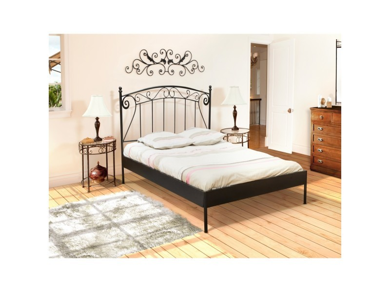 lit 2 personnes 140x190 cm romance noir avec sommier. Black Bedroom Furniture Sets. Home Design Ideas