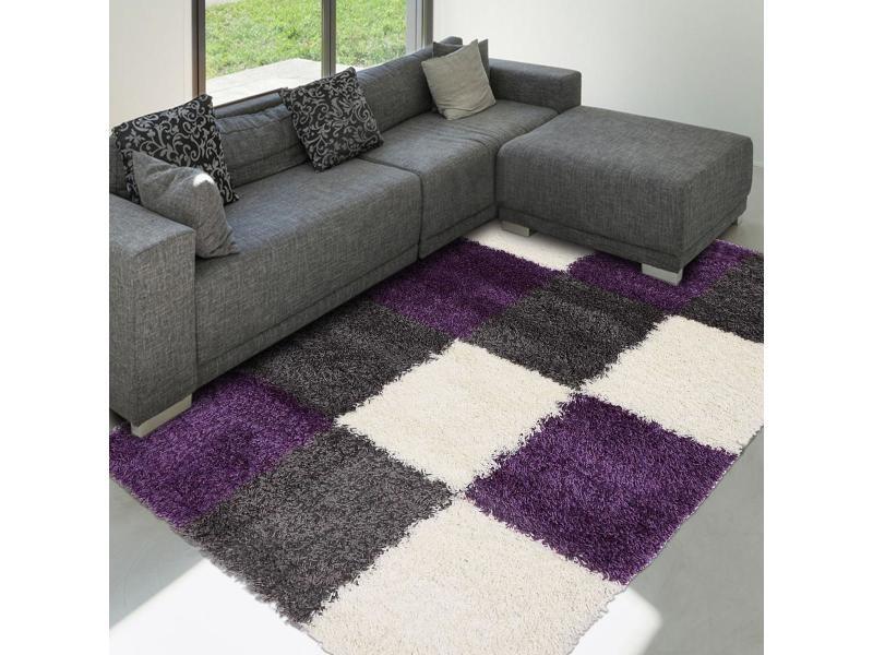 Tapis salon norlaz violet 120 x 170 cm tapis longues mèches par ...