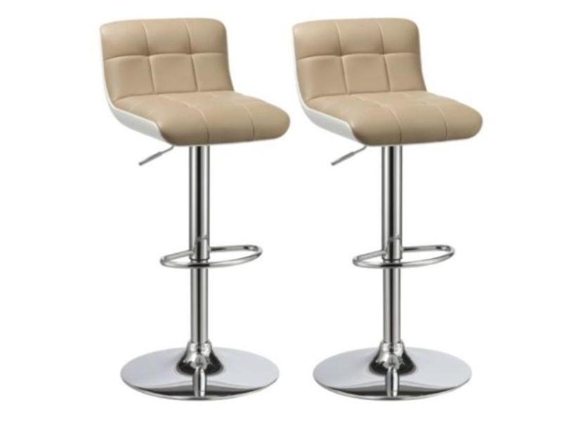 lot de 2 tabourets de bar beige simili et abs hauteur r glable helloshop26 1209130 vente de. Black Bedroom Furniture Sets. Home Design Ideas