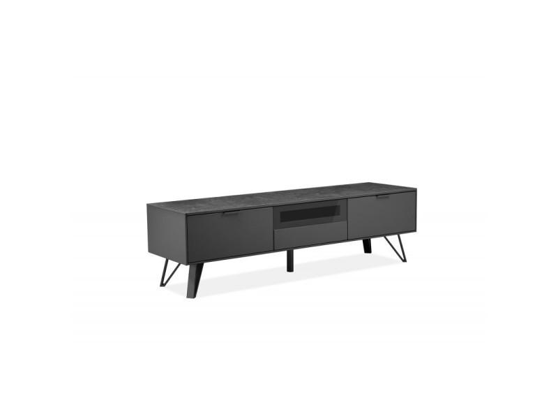 Meuble tv gris anthracite bois, céramique et pied métal - onyx