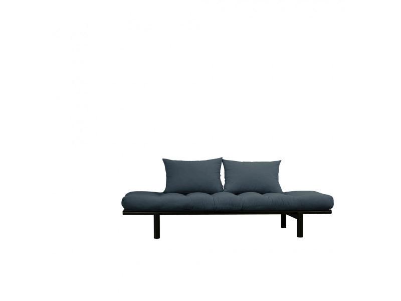 Sofa en pin massif noir matelas bleu pétrole 75x200 coussins 40x60 inclus