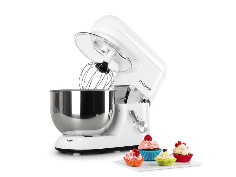 Klarstein bella bianca robot de cuisine multifonction avec crochets et fouet - bol inox 5l - 1200w - blanc