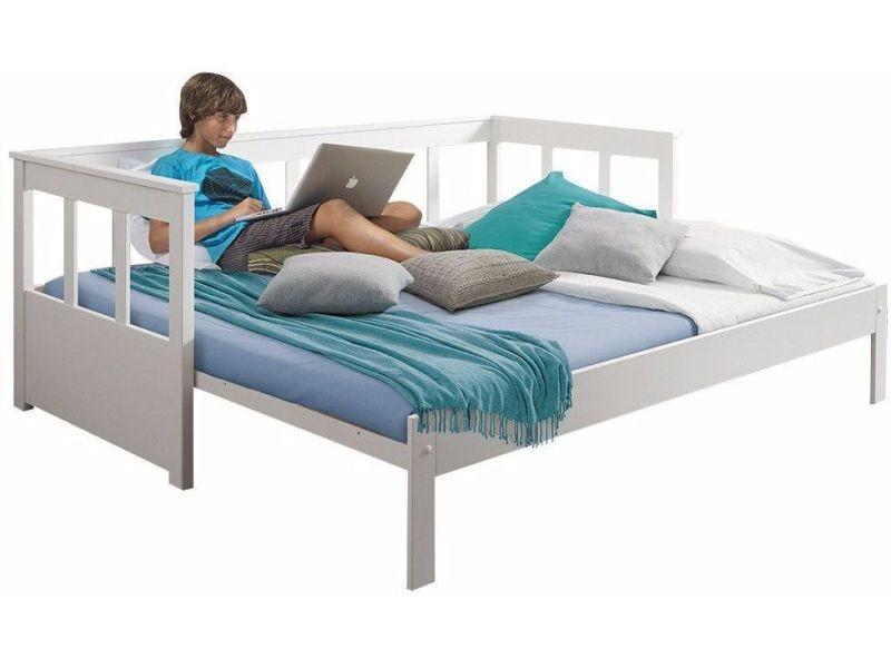 lit banquette extensible en pin massif et mdf coloris blanc 90x200 180x200cm p 21398 co c. Black Bedroom Furniture Sets. Home Design Ideas