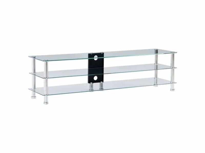 Meuble télé buffet tv télévision design pratique transparent 150 cm verre trempé helloshop26 2502217