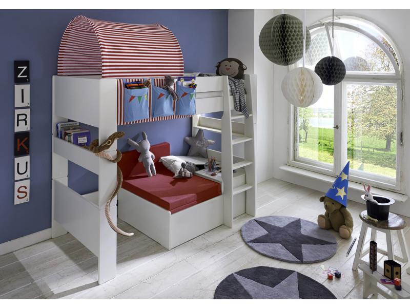 lit mezzanine avec lit gigogne en mdf blanc habillage de lit et tunnel th me circus pegane. Black Bedroom Furniture Sets. Home Design Ideas