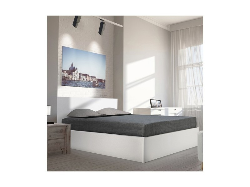 lit coffre madrid 140x200 1 matelas memoryform 1 sommier blanc vente de lit adulte. Black Bedroom Furniture Sets. Home Design Ideas