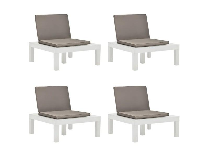 Moderne sièges de jardin collection kaboul chaises de salon de jardin et coussins 4 pcs plastique blanc