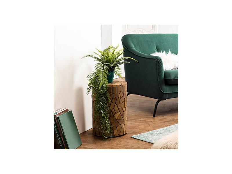 Table d'appoint bois ronde mosaïque 30x30cm teck