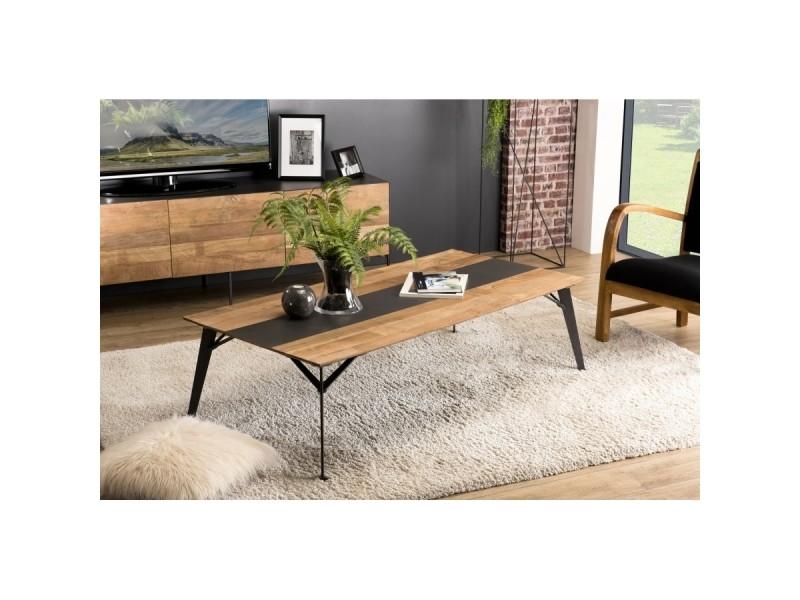 Table basse bois rectangulaire 140x70cm teck recyclé métal et pieds métal