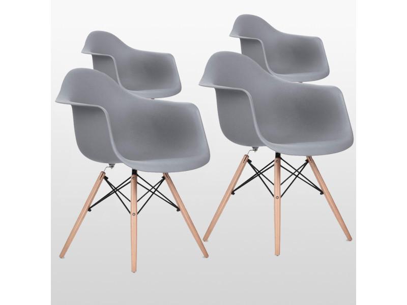 Lot de 4 chaises style scandinaves grises ajie