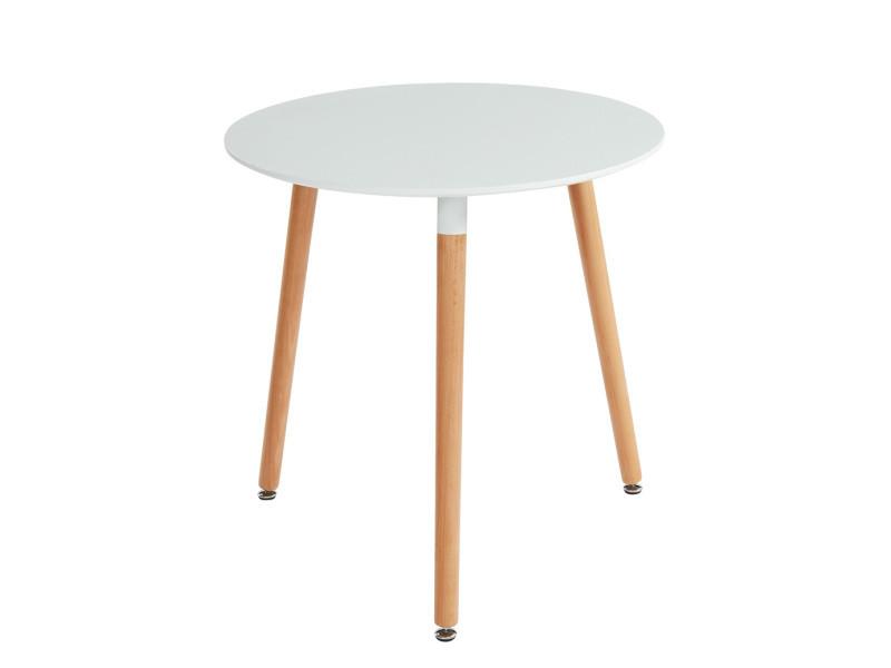 Table de séjour scandinave ronde coloris blanc mat en mdf et hêtre massif - dim : 80 x 80 x 75 cm -pegane-