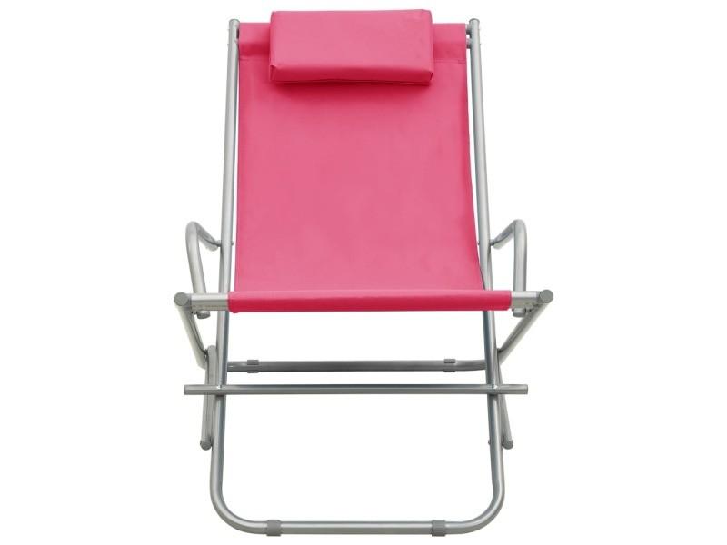 Vidaxl chaises à bascule 2 pcs acier rose 310341