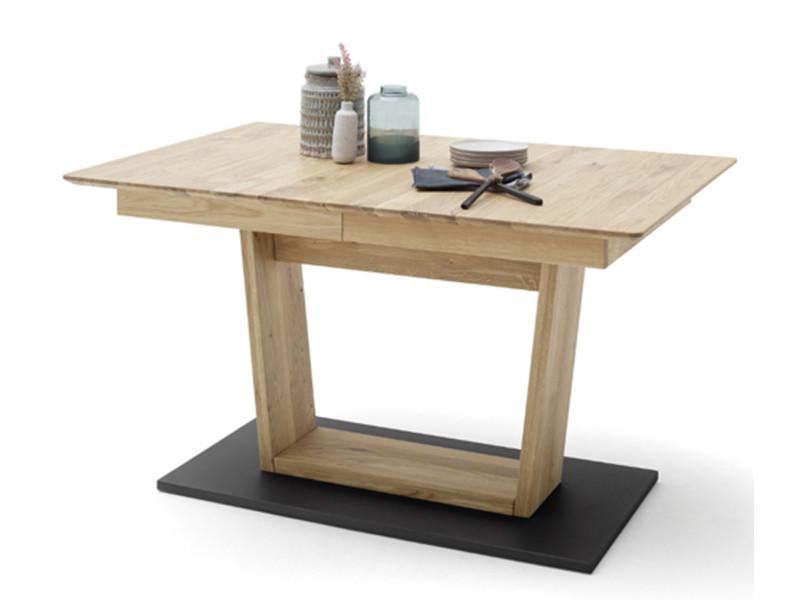 Table à manger extensible en chêne sauvage et noir - l.140-185 x h.77 x p.90 cm -pegane- PEGANE